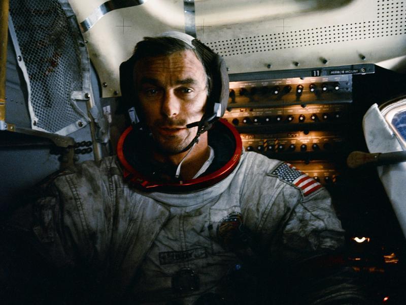 Gene Cernan in the Apollo 17 lunar module after one of three moonwalks.