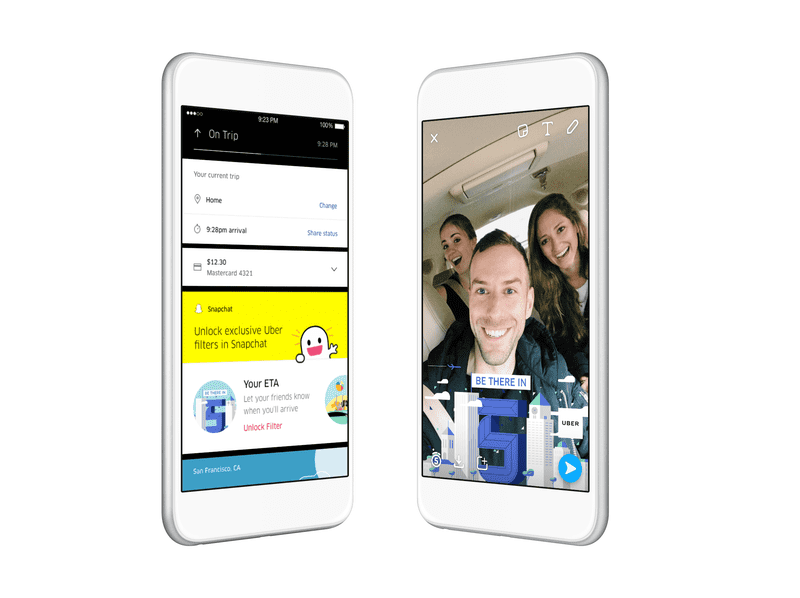 Uber says Snapchat will get information about the ETA, vehicle type and destination, but no private data, to create special filters for riders.
