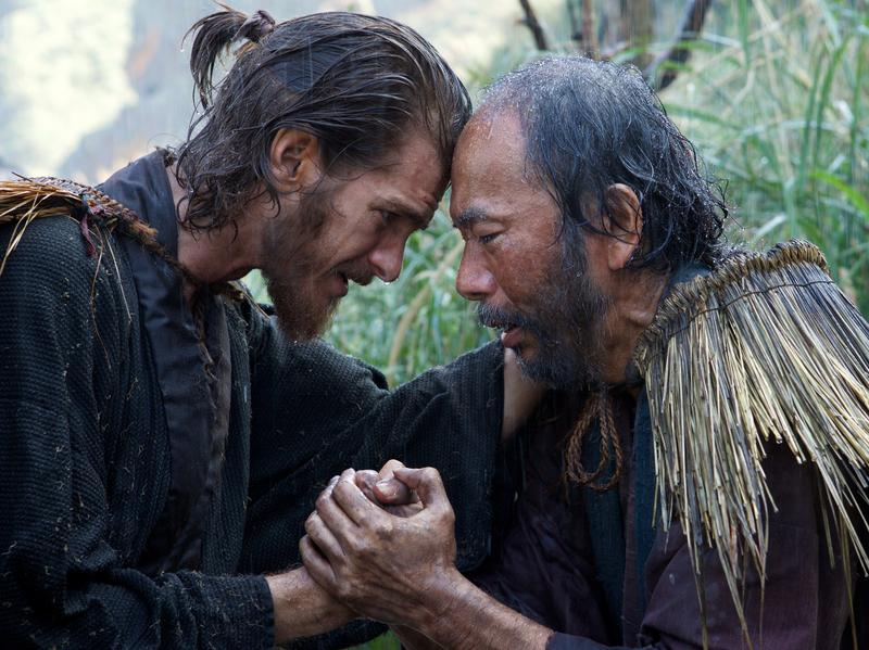 Shinya Tsukamoto (right) plays Christian convert Mokichi and Andrew Garfield plays Father Rodrigues, a Jesuit priest who has traveled to Japan in search of his mentor.