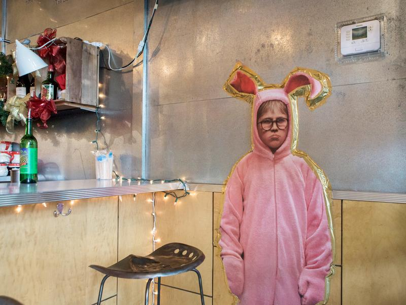 The décor at D.C.'s Miracle on Seventh Street is full-on holiday kitsch, including images of Ralphie from <em>A Christmas Story --</em> he's pretty hip!<em> </em>