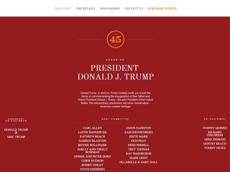 """The Opening Day 45 website advertised an event honoring Donald Trump and listed his sons, Donald Trump Jr. and Eric Trump, as honorary co-chairmen. The site was later changed to say """"Coming Soon."""""""