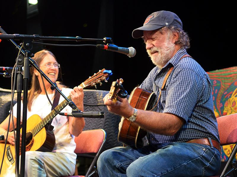 Helen White and Wayne Henderson performing live on <em>Mountain Stage</em>.