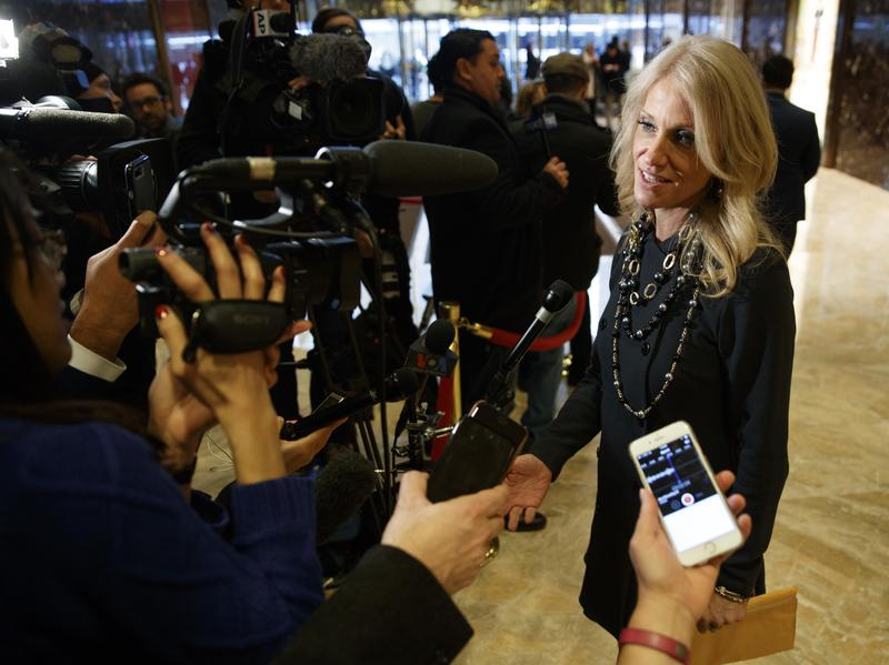 Kellyanne Conway, campaign manager for President-elect Donald Trump, speaks with reporters in the lobby of Trump Tower in New York last week.