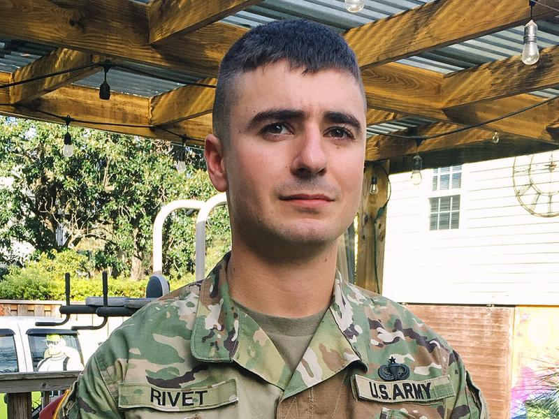 Sgt. Nathaniel Rivet will deploy for his third time after a visit home for the holidays.