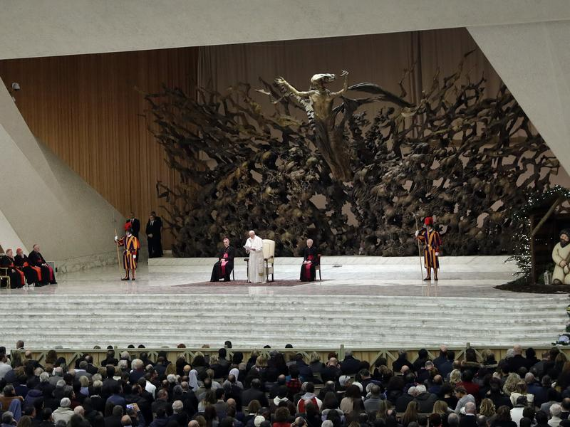 Pope Francis speaks to Vatican employees on Thursday.