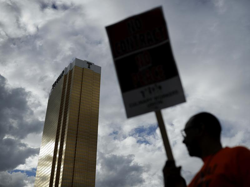 A demonstrator appeared outside the Trump International Hotel in Las Vegas last September, during a protest by the Culinary Workers Union.
