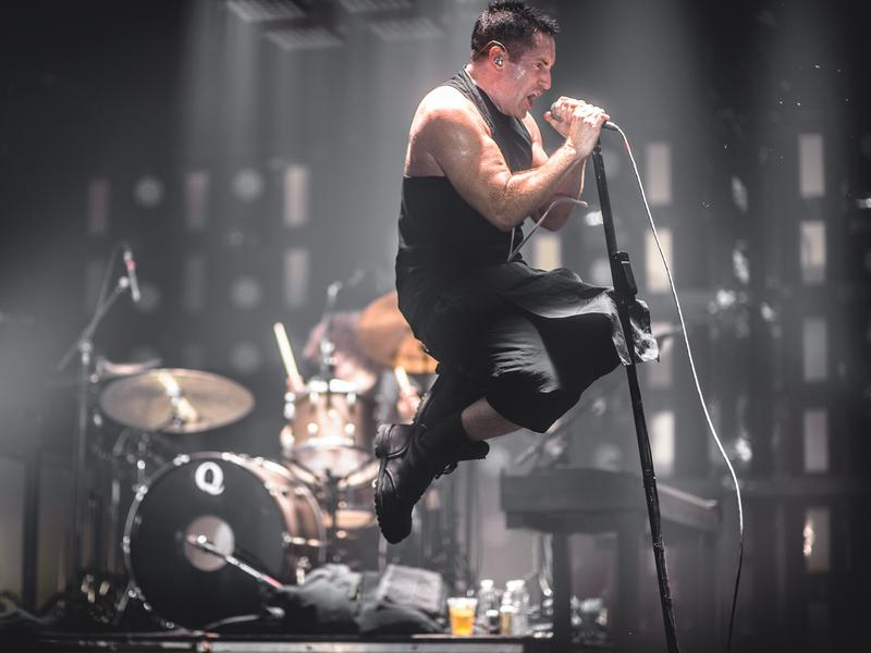 Nine Inch Nails frontman Trent Reznor, performing live at the 2013 Mt. Oasis festival.