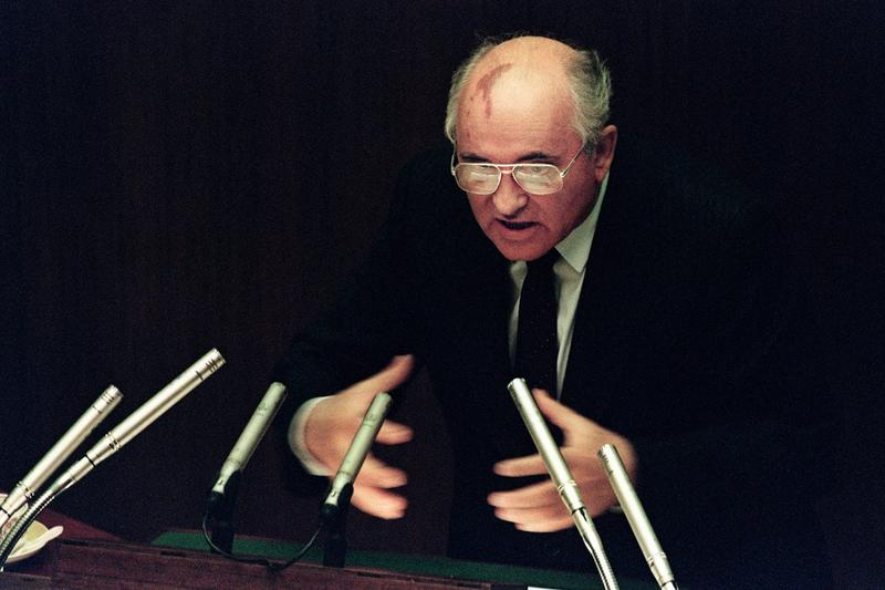 Soviet President Mikhail Gorbachev during an extraordinary session of the Supreme Soviet in Moscow on Aug. 27, 1991. (Vitaly Armand/AFP/Getty Images)