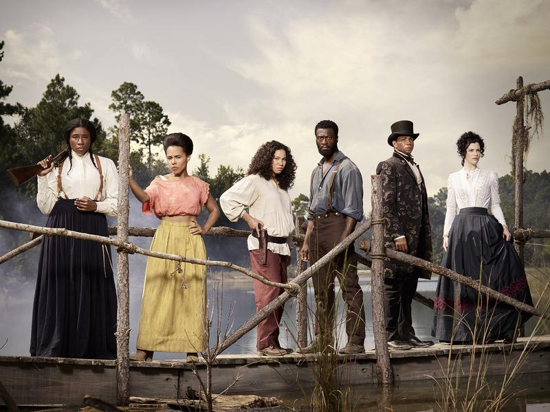 Aisha Hinds, at left, will play Harriet Tubman in the second season of WGN America's <em>Underground</em>, alongside (left to right) <em></em>Amirah Vann, Jurnee Smollett-Bell, Aldis Hodge, Alano Miller and Jessica de Gouw.