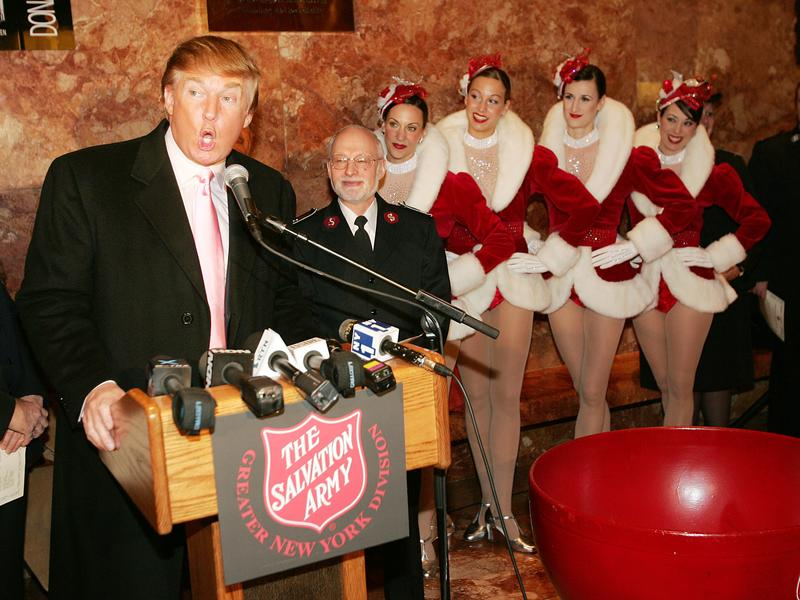 The Radio City Rockettes with Donald Trump in 2004. The Rockettes' union announced late Friday that no dancer would be obligated to perform at the president-elect's inauguration last month.