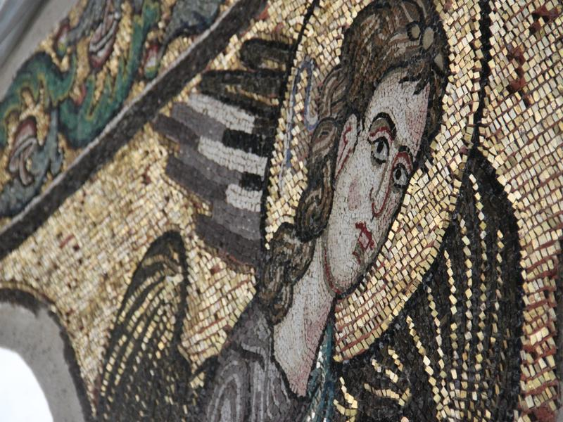 During the restoration work, this mosaic angel was discovered hidden under a layer of plaster.