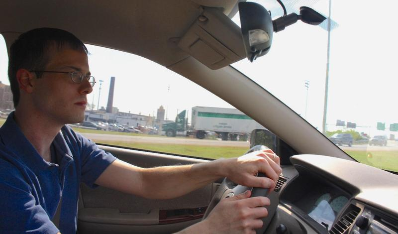 Chris Poen, 31, is on a one-man crusade to improve driving habits — and reduce traffic congestion — in Nashville. (Tony Gonzalez/WPLN)