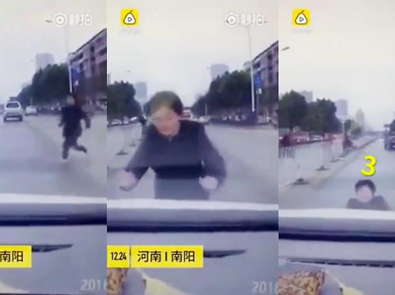 "Stills from a video of a woman pretending to be hit by a stopped car. They're calling her ""China's worst actress."""