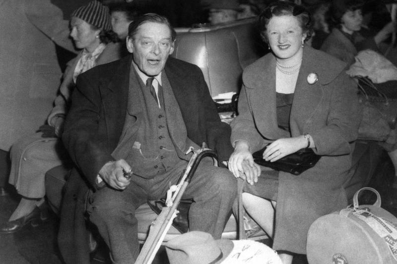 Writer Thomas Stearns Eliot and his wife, Valerie Eliot at Southampton, England, on March 16, 1959, on board the liner Queen Mary, from New York. (AP Photo)