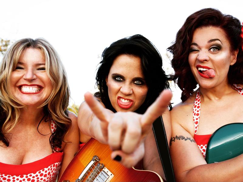 Nicola Berlinsky (left), Lisa Pimentel (middle) and Joanie Pimentel (right) make up the rock band No Small Children.