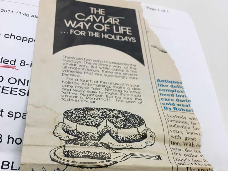 The original recipe, which Susan still has on hand.