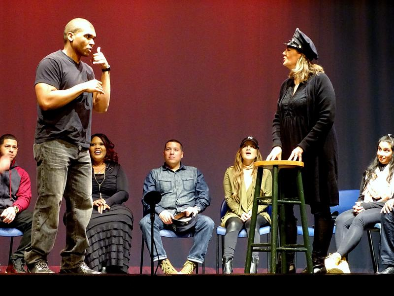 Starting in October, seven police officers and seven civilians got together once a week to get to know one another and do improvisational exercises. At the end of the 10-week journey they starred in <em>To Protect, Serve, and Understand, </em>a free show at the Brooklyn Music School. Above, Officer Desmond John, left, and Kathie Horejsi.
