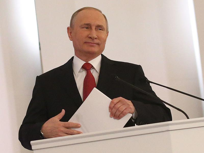 Russian President Vladimir Putin delivers his annual speech to the Federal Assembly at Grand Kremlin Palace in Moscow in early December.