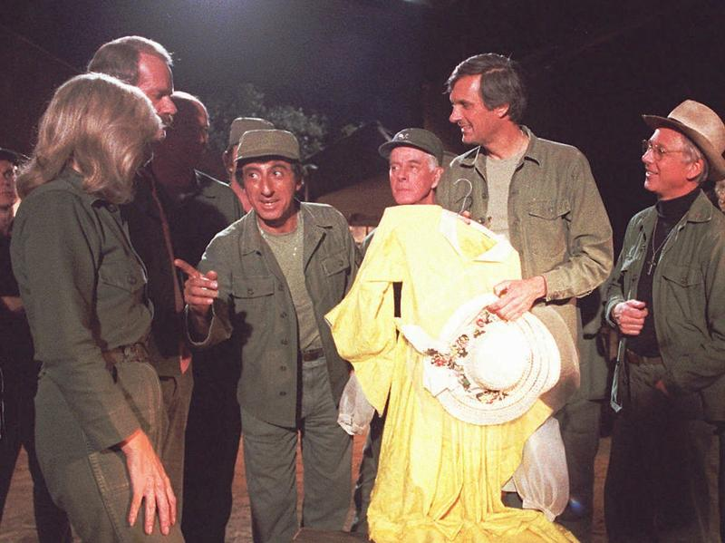 William Christopher, far right, was best known for his role as Father Mulcahy on the 1970s TV show <em>M*A*S*H</em>. He died Saturday in California at the age of 84.
