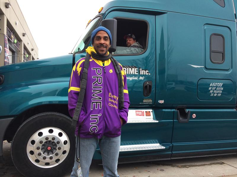 """Siphiwe Baleka (left) says he gained 15 pounds when he first started driving a truck; food was comfort and exercise was tough to come by. Trucking, he says, is """"the most unhealthy occupation in America.""""<a href=""""http://www.siphiwebaleka.com/""""></a>"""