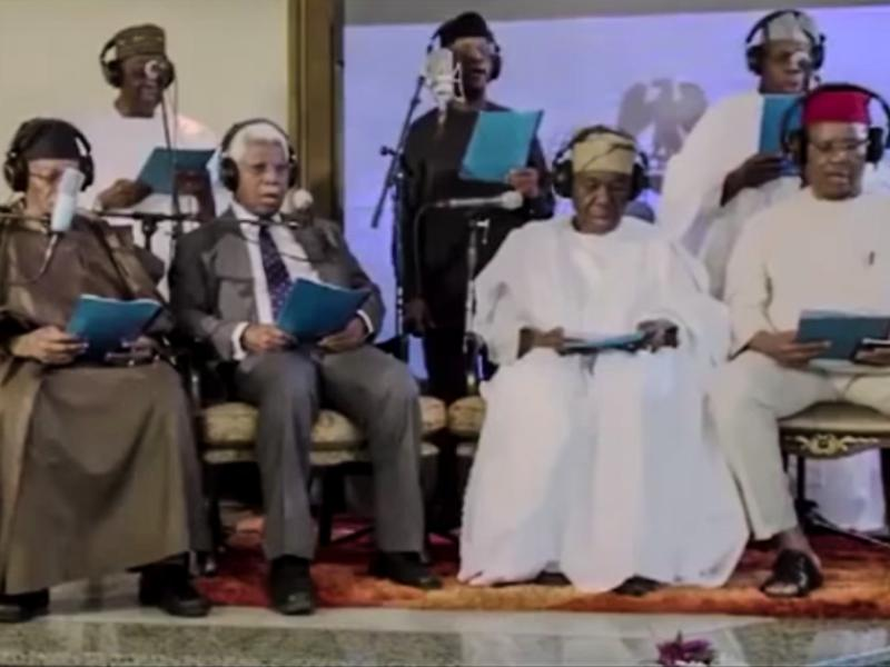 The singing group consists of Nigerian former leaders and its current vice president.