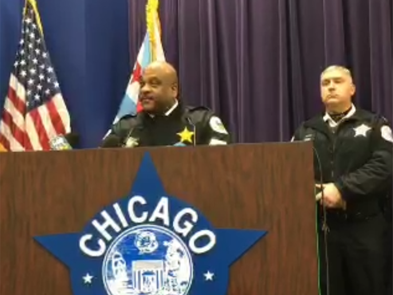 """A screenshot shows the Chicago Police Department's Wednesday news conference, where Police Superintendent Eddie Johnson (left) discussed a violent attack that was live-streamed on Facebook. Johnson called the assault """"sickening."""""""