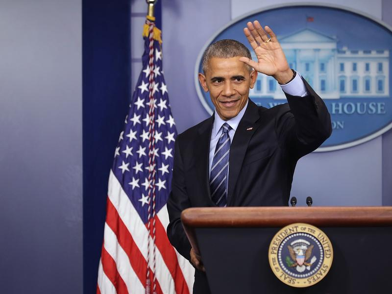 President Obama waves goodbye at the conclusion of a news conference at the White House on Dec. 16.
