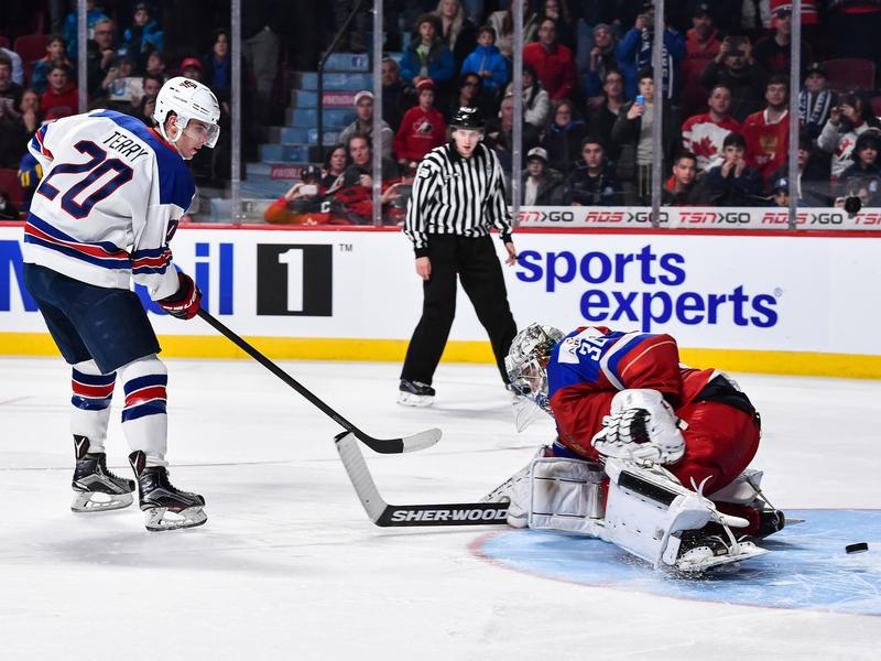 U.S. forward Troy Terry scores the game-winning goal against Russia in the 2017 IIHF World Junior Championship semifinal in Montreal on Wednesday.