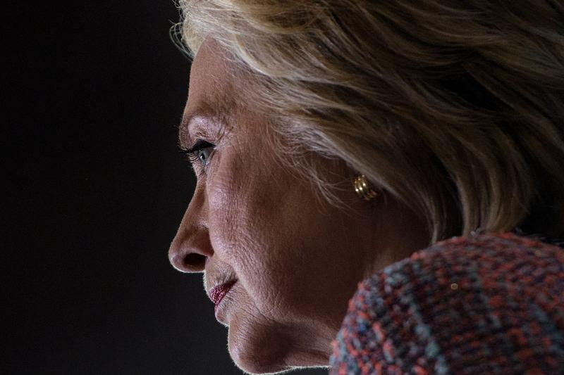 Hillary Clinton pauses while speaking during a campaign rally in September 2016 in Greensboro, N.C. (Brendan Smialowski/AFP/Getty Images)