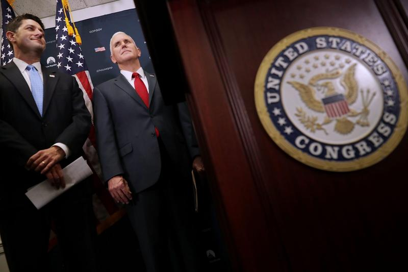 Speaker of the House Paul Ryan and U.S. Vice President-elect Mike Pence at a news conference following a House Republican conference meeting at the U.S. Capitol  on Jan. 4, 2017 in Washington, D.C. (Chip Somodevilla/Getty Images)