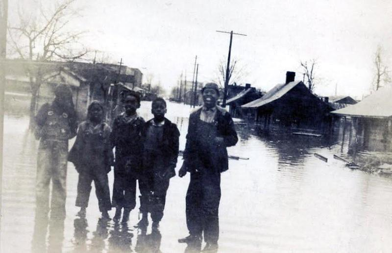 This undated photo shows flooding in the Murfreesboro Bottoms, an area cleared in the early 1950s for Broad Street. Officials now seek to reconnect the area to downtown. (Courtesy Rutherford County Archives via WPLN)