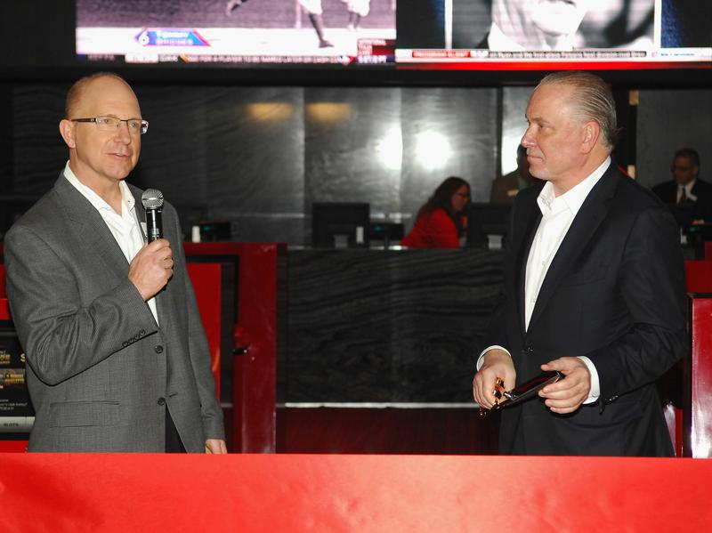 Kirk Golding, SR Vice President of Silverton Casino Lodge (L) and Lee Amaitis, President & CEO of Cantor Gaming, appear at the announcement of the Cantor Gaming sportsbook at the Silverton Casino Lodge on November 29, 2012 in Las Vegas, Nevada.