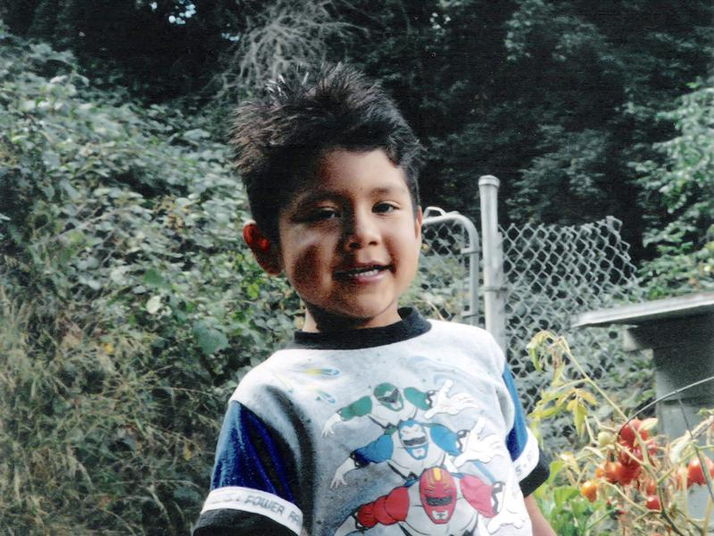 In one of the few photos Anaya has from his time in foster care, he's pictured at age 4 in the backyard of one of his many foster homes.