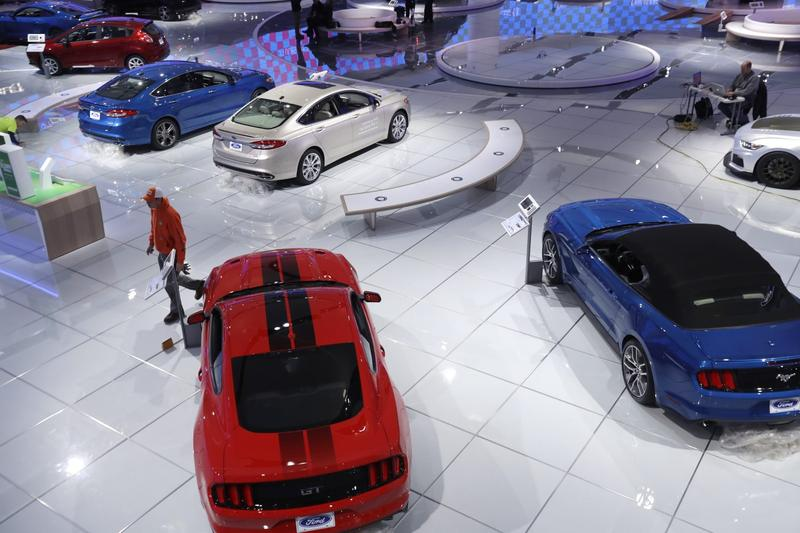 The Ford display is seen at the 2017 North American International Auto show, Friday, Jan. 6, 2017, in Detroit. The show opens to the media on Monday, Jan. 9 and to the public on Jan. 14. (Carlos Osorio/AP)