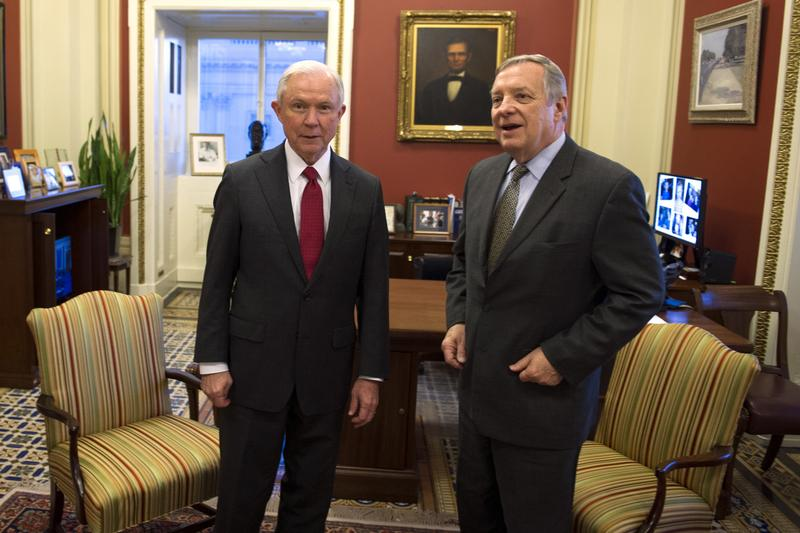 Attorney General nominee Sen. Jeff Sessions, R-Ala., left, meets with Senate Minority Whip Richard Durbin of Ill., on Capitol Hill, in Washington. (Cliff Owen/AP)