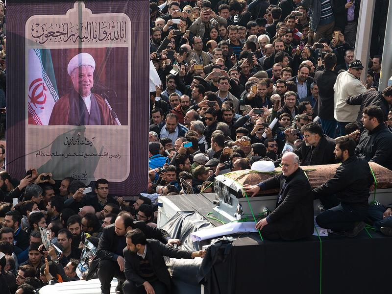 Mourners attend the funeral of former Iranian President Ali Akbar Hashemi Rafsanjani on Tuesday. Rafsanjani, who was 82, was a key figure in the foundation of the Islamic Republic in 1979, and served as president from 1989 to 1997.