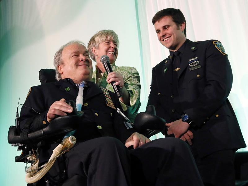 In March 2015, Steven McDonald gathered with his wife, Patricia, and son, Conor, to receive the Spirit of Giving Award at the Kelly Cares Foundation's 5th Annual Irish Eyes Gala, in New York City.