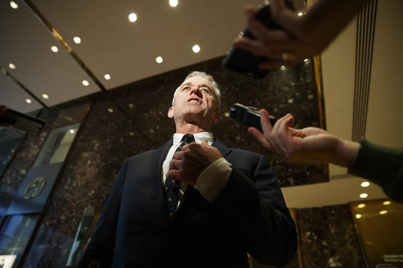 Robert F. Kennedy Jr. talks with reporters in the lobby of Trump Tower in New York, Tuesday, Jan. 10, 2017, after meeting with President-elect Donald Trump. (Evan Vucci/AP)