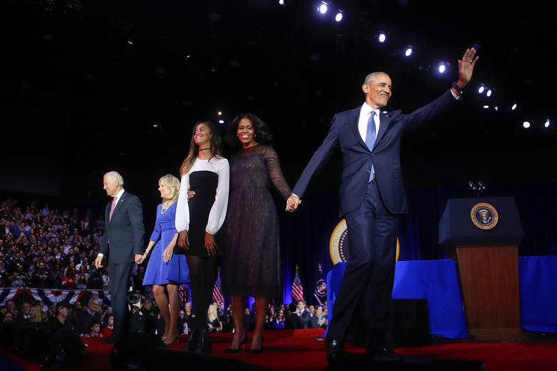 President Barack Obama waves on stage with first lady Michelle Obama, daughter Malia, Vice President Joe Biden and his wife Jill Biden after his farewell address at McCormick Place in Chicago. (Pablo Martinez Monsivais/AP)