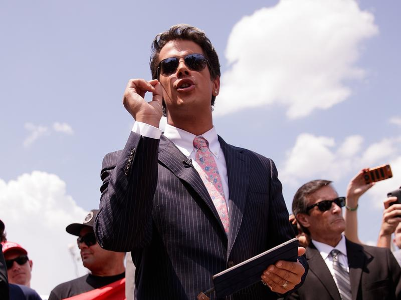 Publisher Simon & Schuster drew strong criticism after signing conservative provocateur Milo Yiannopoulos — seen here holding a press conference about the Pulse nightclub shootings.