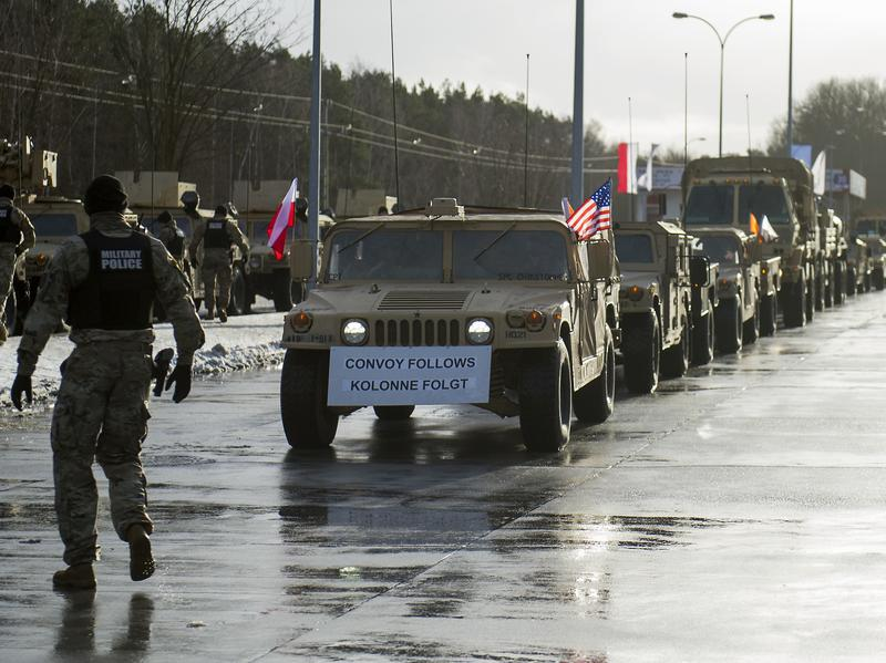 American soldiers are pictured during a welcome ceremony at the Polish-German border in Olszyna, Poland on January 12, 2017. U.S. troops are being deployed in Poland under Operation Atlantic Resolve. The troops will be followed by 87 tanks, 144 Bradley fighting vehicles and 2,500 vehicles being transported by land from Germany.