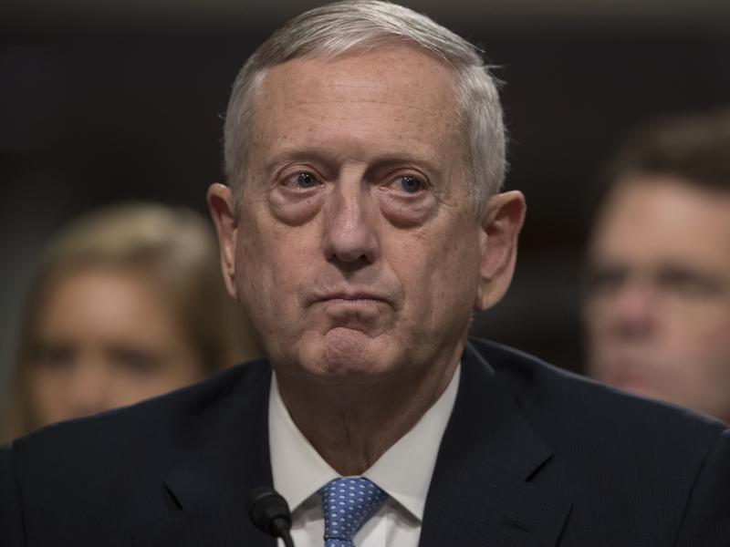 Defense Secretary-designate James Mattis testifies on Capitol Hill on Thursday. Unlike President-elect Trump, he expressed strong support for the NATO alliance.