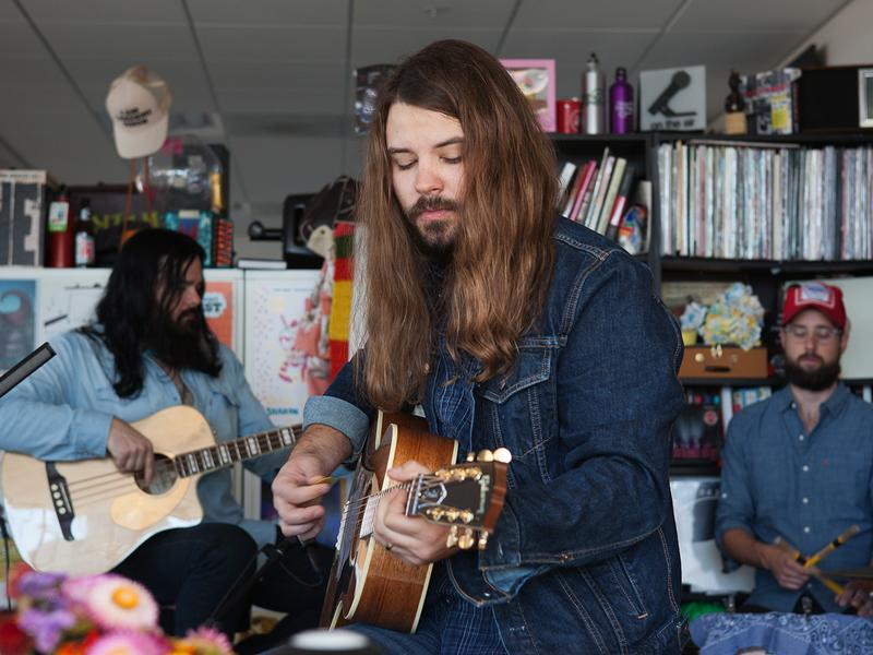 Brent Cobb performs a Tiny Desk Concert on Nov. 10, 2016. (Claire Harbage/NPR)