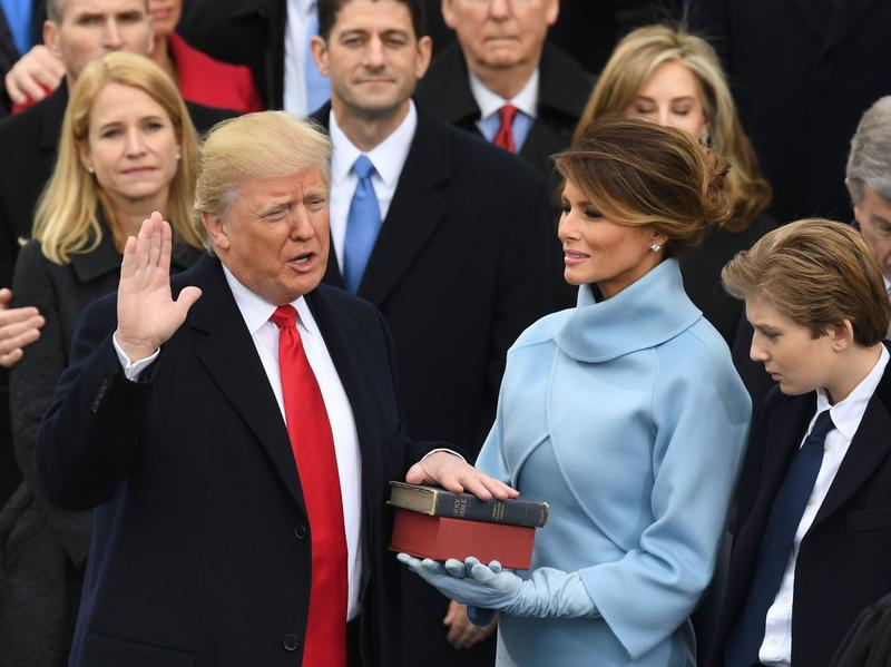 Donald Trump is sworn in as President of the United States.