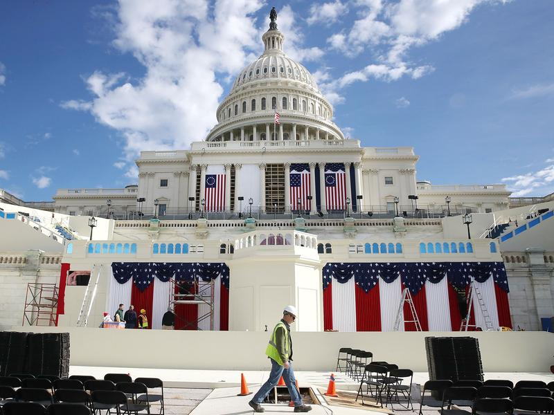Workers are busy preparing the stage in Washington, D.C., to be used during the inauguration of Donald Trump on Jan. 20.