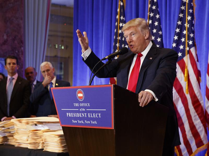 President-elect Donald Trump speaks during a Jan. 11 news conference, in which he acknowledged that Russia hacked Democratic campaign communications.