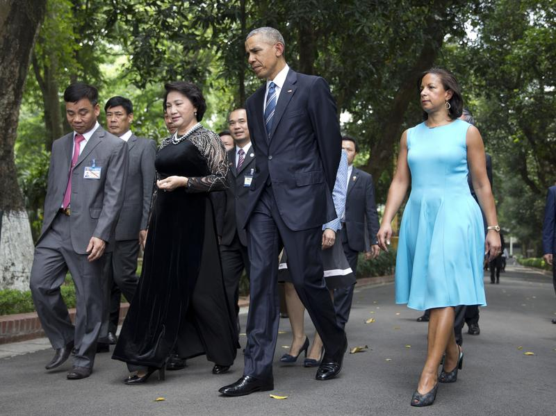 President Obama and his national security adviser, Susan Rice, walk with the chairwoman of Vietnam's National Assembly Nguyen Thi Kim Ngan, third from right, during a visit to the capital Hanoi in May 2016.