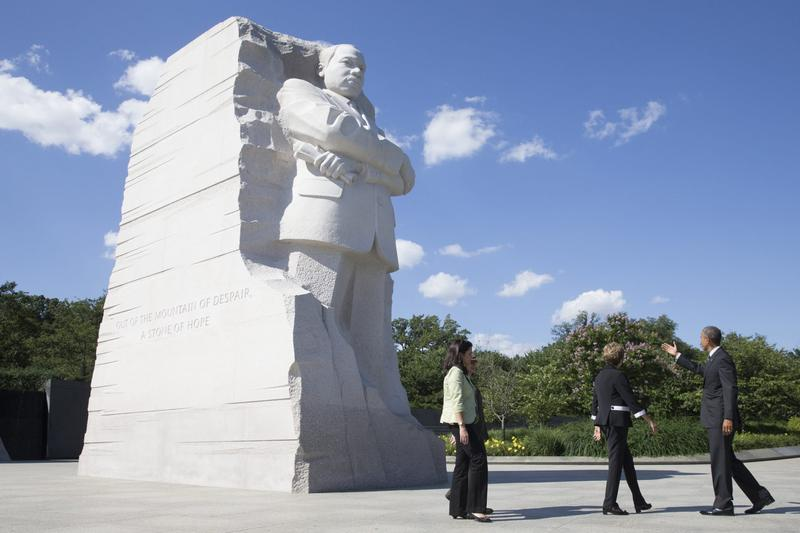 President Barack Obama (right) and President of Brazil Dilma Rousseff visit the Martin Luther King Jr. Memorial, with National Park Service National Mall Superintendent Karen Laura Cucurullo in June 2015 in Washington, D.C. (Michael Reynolds - Pool/Getty Images)