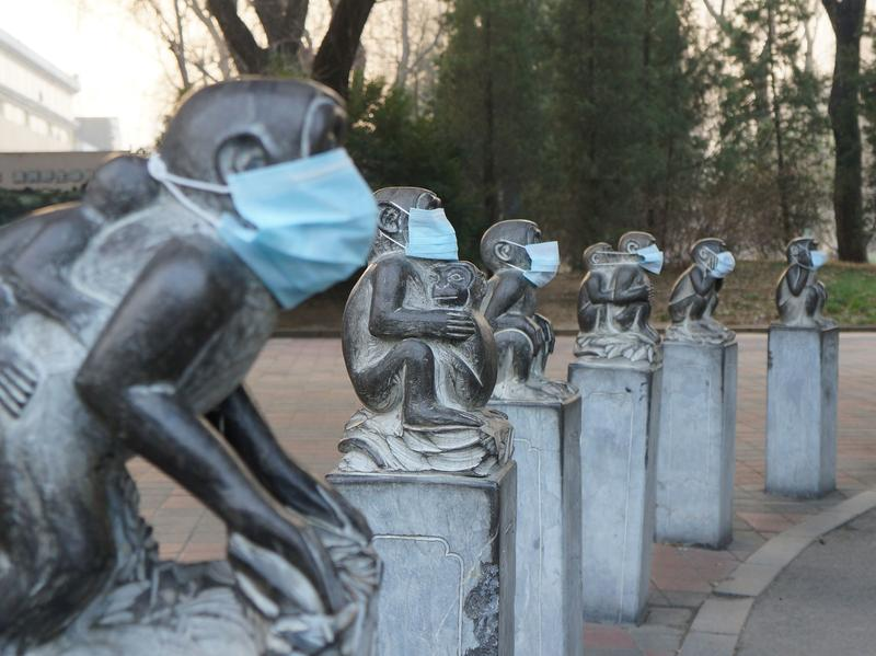 Face masks were placed on stone monkeys at the Beijing Zoo on Dec. 19 to protest heavy air pollution in northeast China. A week earlier, riot police cracked down after artists put similar masks on human figures in Chengdu.