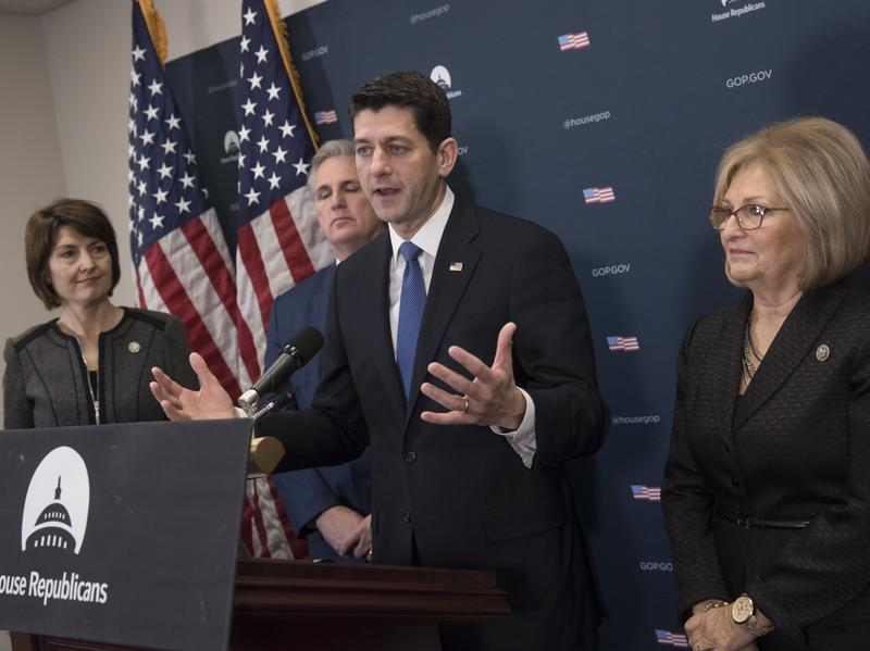 House Speaker Paul Ryan, joined by (from left) Rep. Cathy McMorris Rodgers, House Majority Leader Kevin McCarthy and Rep. Diane Black, discuss their efforts to repeal the Affordable Care Act on Jan. 10.